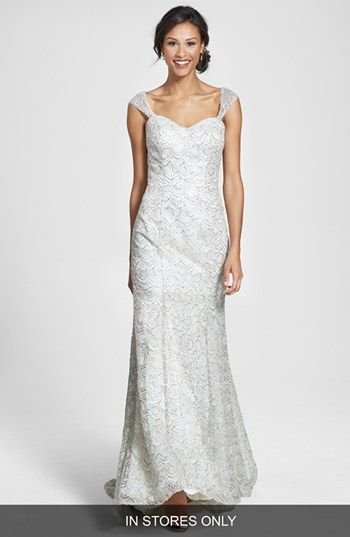 Olia Zavozina Beaded Metallic Lace Gown (In Stores Only) available at #Nordstrom