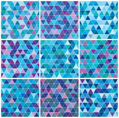 Bright blue winter triangle decorative background seamless pattern set