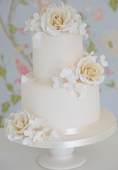 Pretty White Wedding Cake With Hand Made Edible Flowers