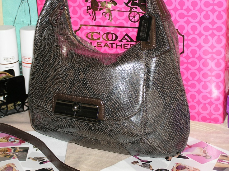 COACH Kristin embossed python Brown leather Hobo Purse
