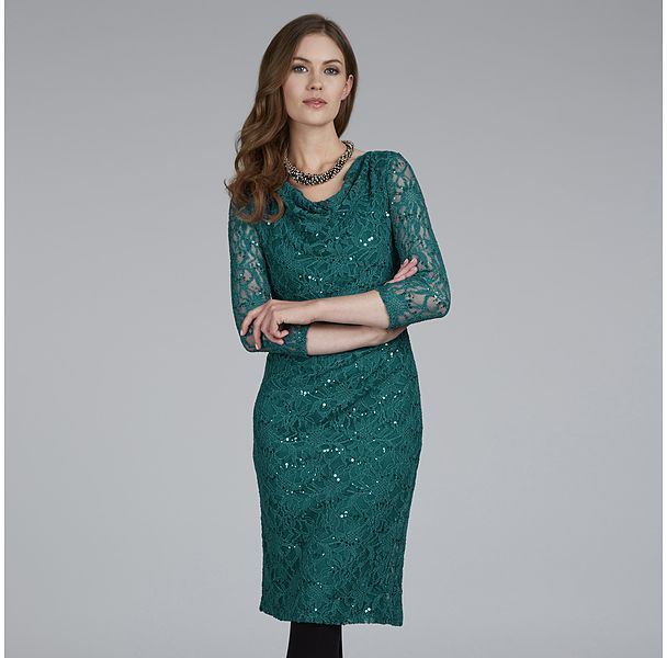 Womens teal dress from Laura Ashley - £95 at ClothingByColour.com