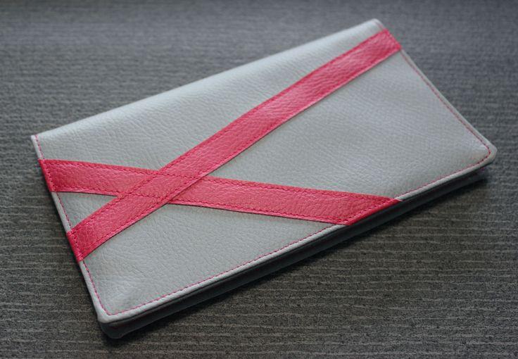 Porte chéquier femme gris et rose en simili cuir