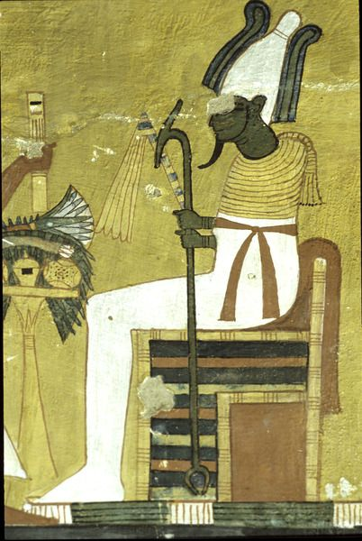 Relief depicting Osiris seated before offering... -                                         Egypt Museum