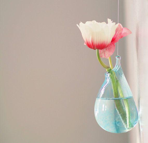 Hanging Terrarium Vase / Hand Blown Glass Art / by AvolieGlass