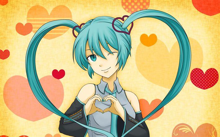 Hämta bilder Hatsune Miku, hjärtat, grönt hår, 4k, manga, Vocaloid