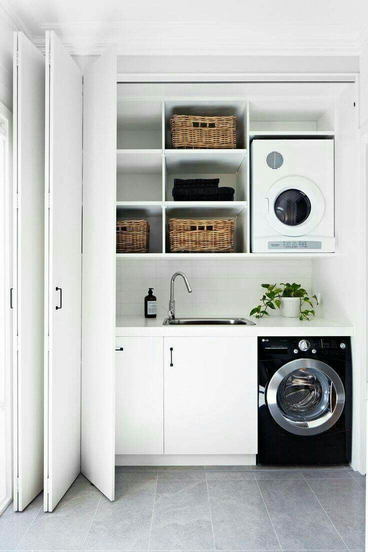 """When you're stuck with a """"closet laundry"""" this is a nice set up"""