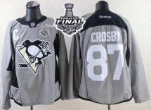 2017 Stanley Cup Final Patch Penguins #87 Sidney Crosby Grey Pra