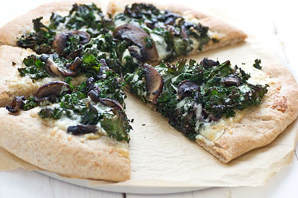 Portabella & Kale Pizza with Roasted Garlic Sauce Recipe