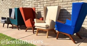 Lewis Interiors Midcentury Modern Handcrafted Custom Lounge Chair: Lewis Tall Lounger (LTL) – Choose your color and wood tone.  It's that easy.  Leave the fluffy couches & cookie cutter chairs to the rookies. www.lewisinteriors.com - Made in the USA, Custom Midcentury, Mid Century Modern, MCM, Vintage, Retro, Lounge Chair, Lounger, Wingback, Accent Chair, Upholstered, Tweed, Oak, Ottoman, Blue, Orange, White, Black, Green, Yellow, Gray