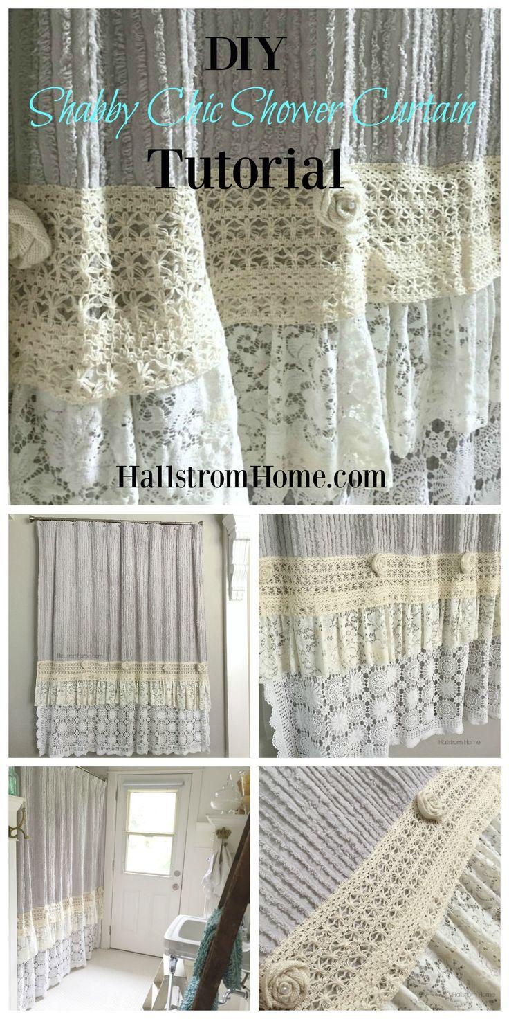 diy shabby chic shower curtain tutorial Hallstrom Home