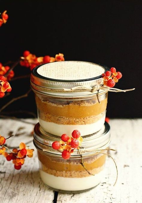 Thanksgiving (or Friendsgiving) favors *everyone* will thank you for. We love the idea of sending guests home with festive party favors, like this pie in a mason jar.
