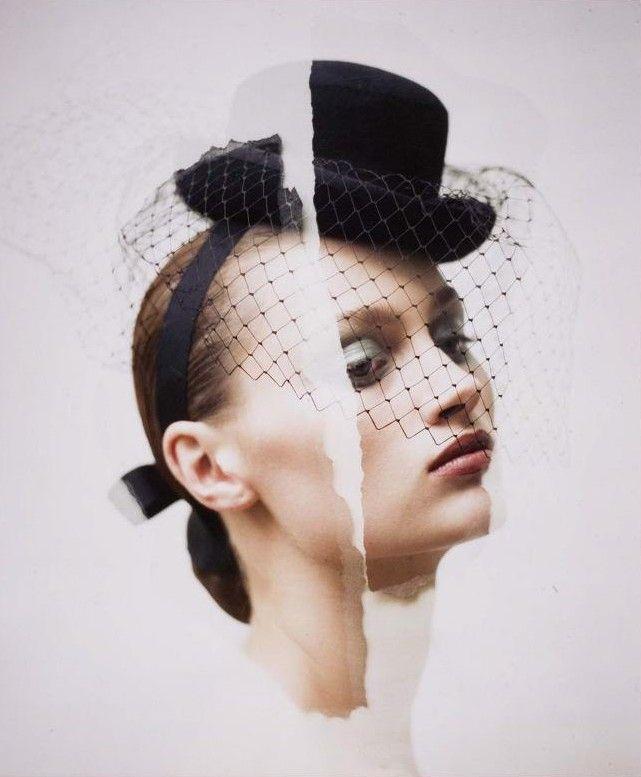 Therese Bachy | David Seidner #photography | Stephen Jones Hat, 1987 | via tumblr  #mixed_media