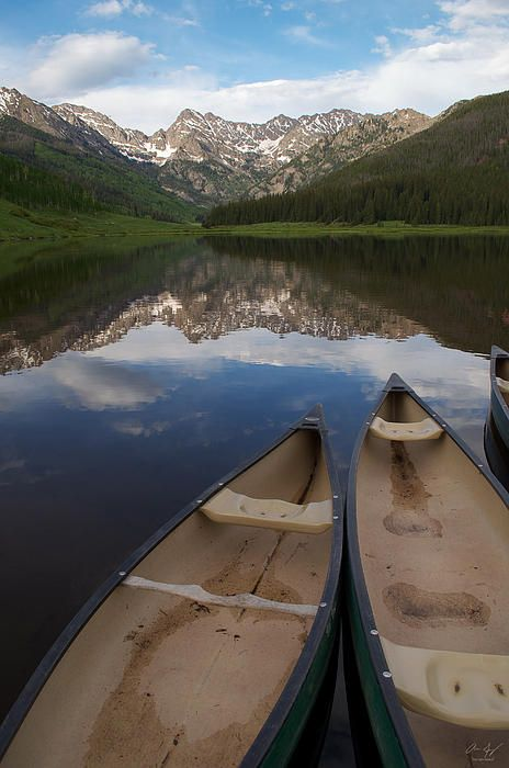Canoes on Piney Lake, Vail Colorado - Photography prints by Aaron Spong  http://aaron-spong.artistwebsites.com/featured/piney-lake-aaron-spong.html