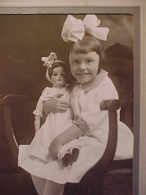 FRAMED PHOTO ANTIQUE DOLL & 6 YR OLD GIRL by THE GIBSON STUDIO GREAT FALLS, MONT