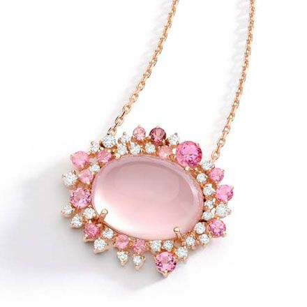 Baobab Rose Collection - Necklace in 18K rose gold with round diamonds, rose quartz and pink tourmaline.