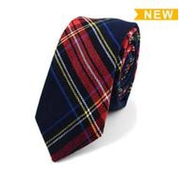 "Umo Lorenzo Men's Plaid Flannel 2.25"" Cotton Slim Tie"