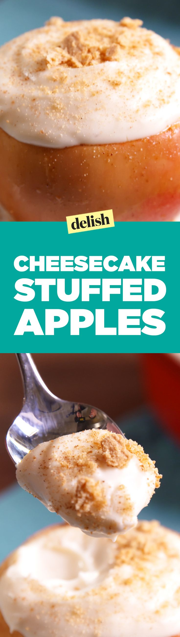 These cheesecake-stuffed apples are the fall dessert you didn't know you needed. Get the recipe on Delish.com.