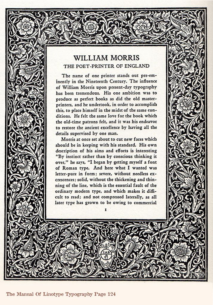 The Manual Of Linotype Typography published 1923, William Morris poet, printer, artist and designer of England.