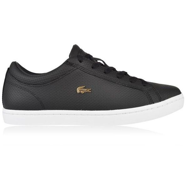 Lacoste Straightset Trainers ($115) ❤ liked on Polyvore featuring shoes, sneakers, black, black sneakers, leather low top sneakers, black leather sneakers, black shoes and leather sneakers