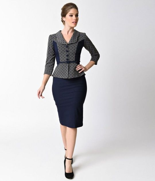 An abiding catch, dames! A professional dress complete in proper retro Stop Staring! fashion. This fitted wiggle dress is accomplished by ravishing navy blue pencil skirt that extends up into the top along the mid arm seaming. A beautiful grey blend is do