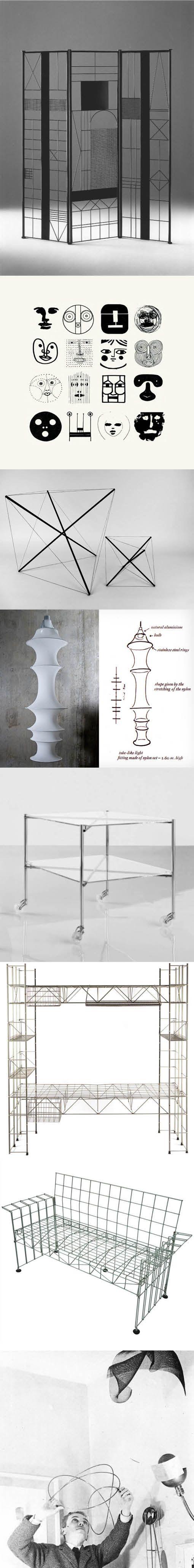 Bruno Munari (1907-1998) / Paravento (1991) / Faces from Design as Art (1996) / Tensile Structures (1990) / Danese Milano Falkland Lamp (1964) / Robots Biplano table (1972) / Abitacolo bed (1979) / Abitacola sofa (1972) / Italy