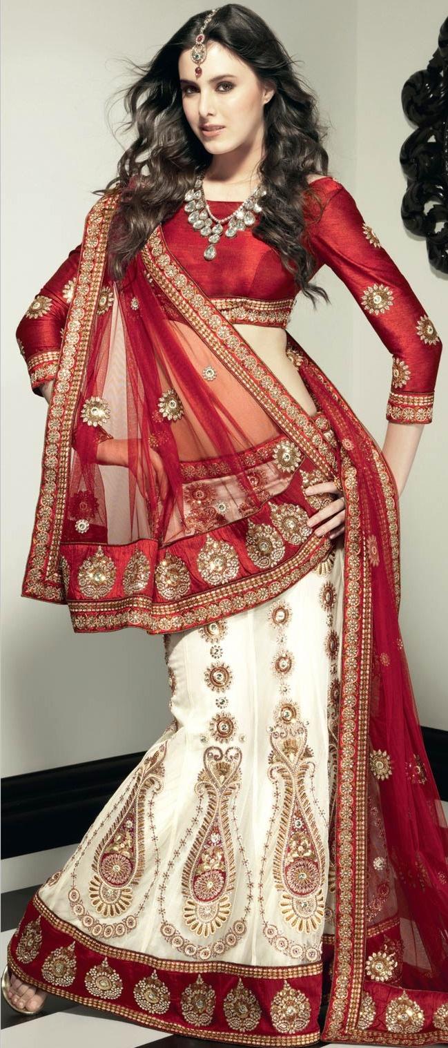 #White Net A-Line #Lehenga Choli with Dupatta @ $424.99   Shop @ http://www.utsavfashion.com/store/sarees-large.aspx?icode=lsl11
