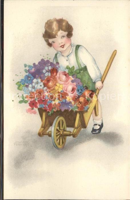 Petersen Hannes Kind Schubkarre Blumen Kat. Kuenstlerkarte 0