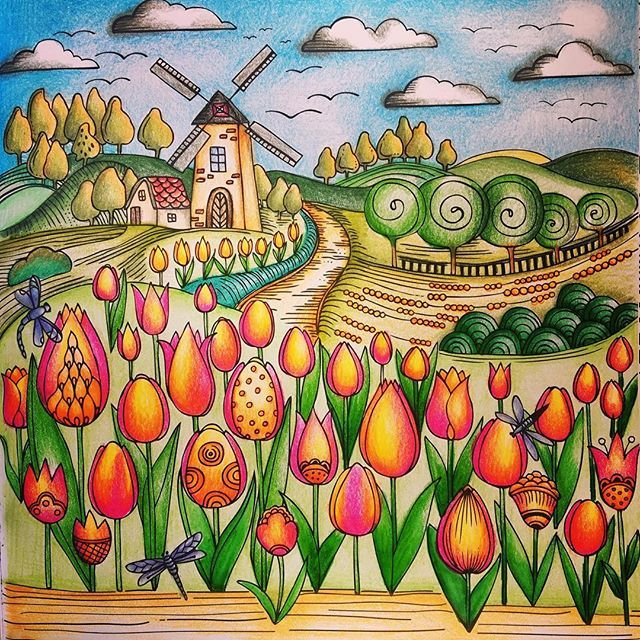 Tulip field colored along with my good friend @coloringwithjoy. Check out hers, it's beautiful. From Rita Berman's spring book. #springcoloring #springcoloralong #springcoloringbook #springtimecoloralong #springtime #coloringforadults #coloringbooks #coloringbook #colorpencil #lovetocolor #lovecoloring #colorear #coloring #coloringtime #coloringisfun #coloringtherapy #arttherapy #arteterapia #ritaberman #meinfrühlingsspaziergang #bayan_boyan #boracolorirtop
