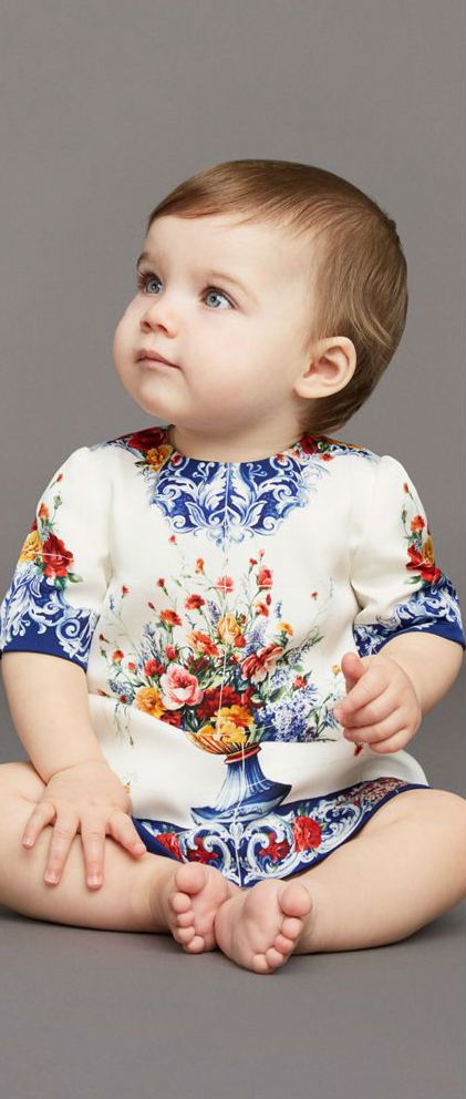 Cute! DOLCE & GABBANA Baby Girl Mini Me Vaso Fiori Silk Dress. #baby #dgbaby #kidsfashion #dolcegabbana #fashion #style