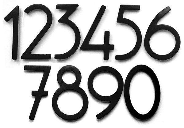 Bungalow style house numbers letters satin black 5 for Bungalow house numbers