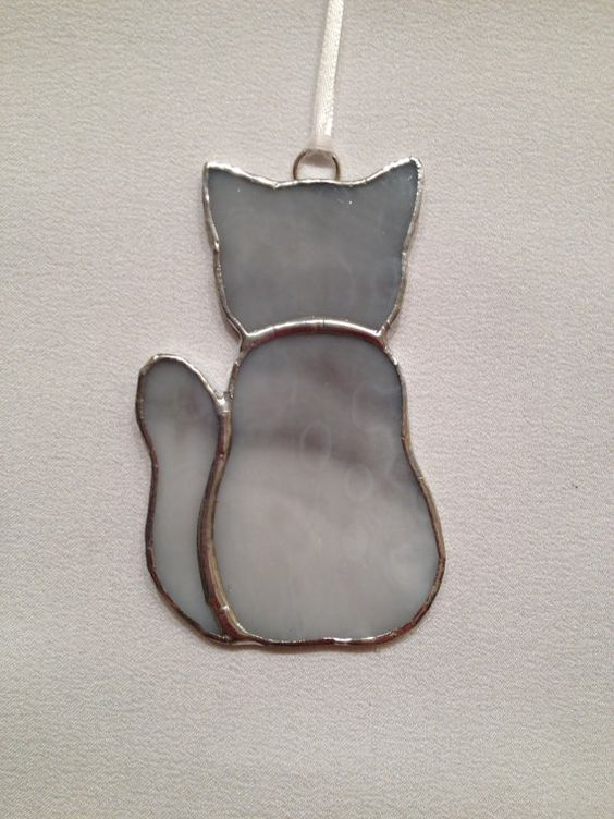 Stained Glass Ornament  Gray Kitty Cat by MamaAgees on Etsy, $6.00: