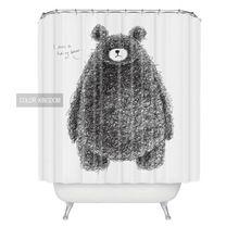 Оптовая творческий мягкая ванна занавес Черный медведь pattern Водонепроницаемый занавес Европейский и Американский стиль душ занавес(China (Mainland))