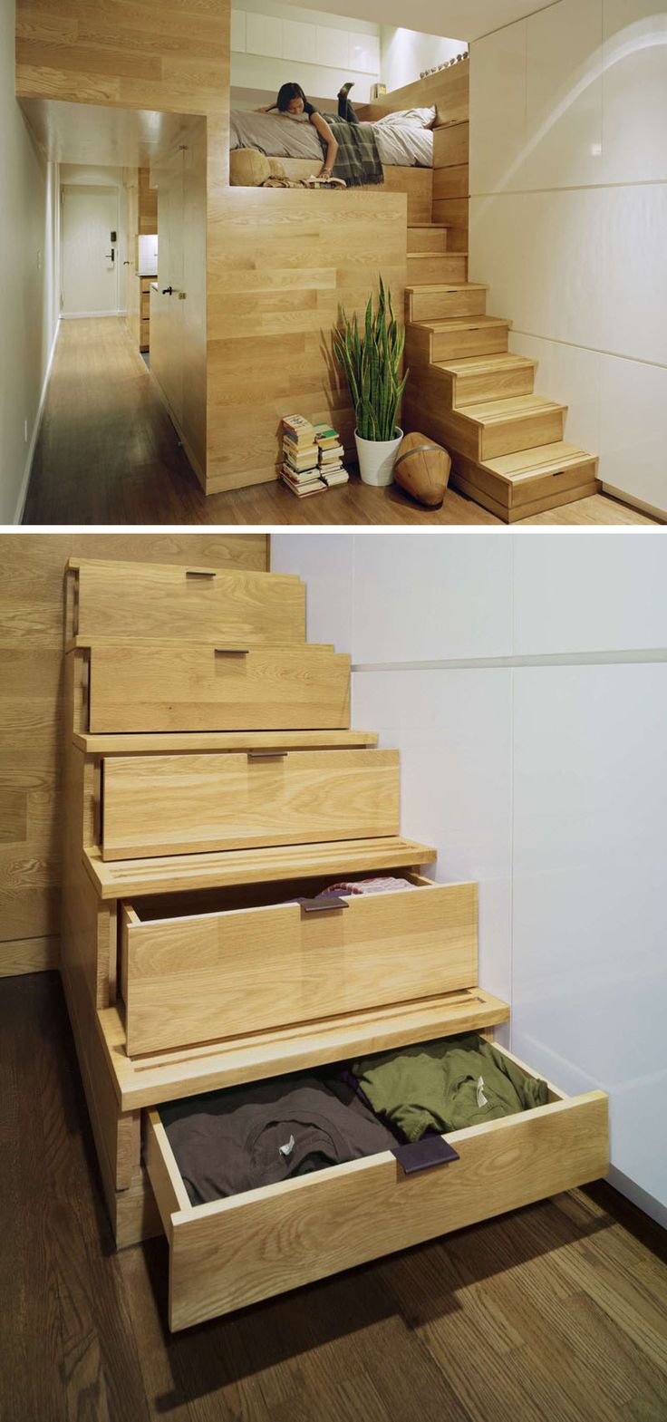 13 Stair Design Ideas For Small Spaces | The staircase leading to the loft bed in this apartment also doubles as clothing storage, taking care of two problems with one staircase.