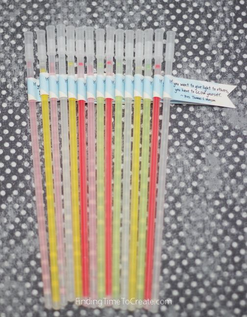 Girls Camp Pillow Treats - Glow Sticks with Quote