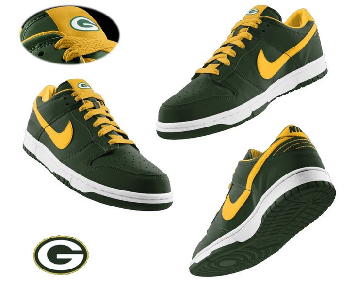 Mens Nike Green Bay Packers Dunk Shoes Green  ID:60810612Price : $65