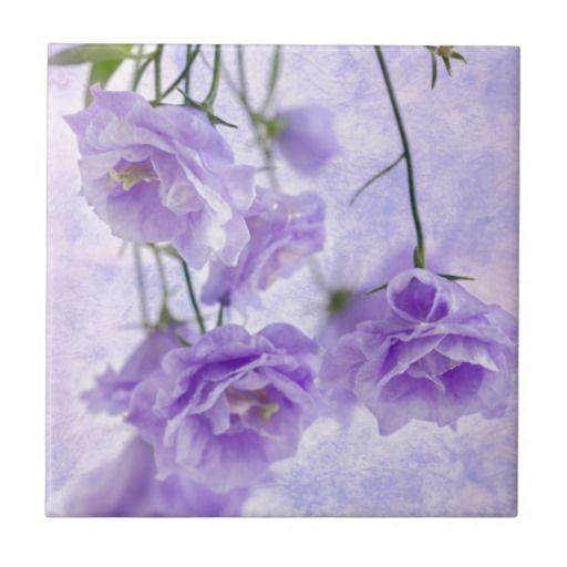 Purple Campanella Flowers Macro Ceramic Tile