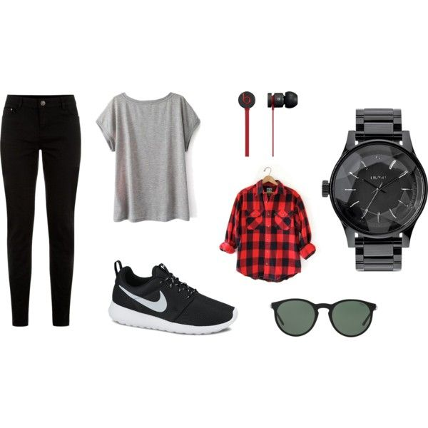 Black and Red by brooke-stewart98 on Polyvore featuring NIKE, Nixon, Polo Ralph Lauren and Beats by Dr. Dre