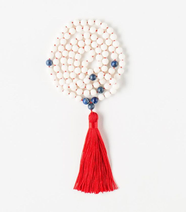'Self-Expression' Mala - 108 White Coral beads Tibetan Buddhist Mala with Lapis Lazuli