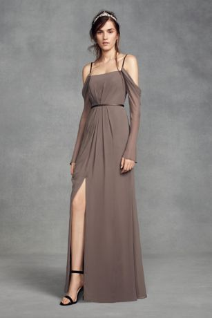 9ab17b2974 ... from White by Vera Wang features sheer and romantic long swag sleeves  and a slim satin waistband. White by Vera Wang