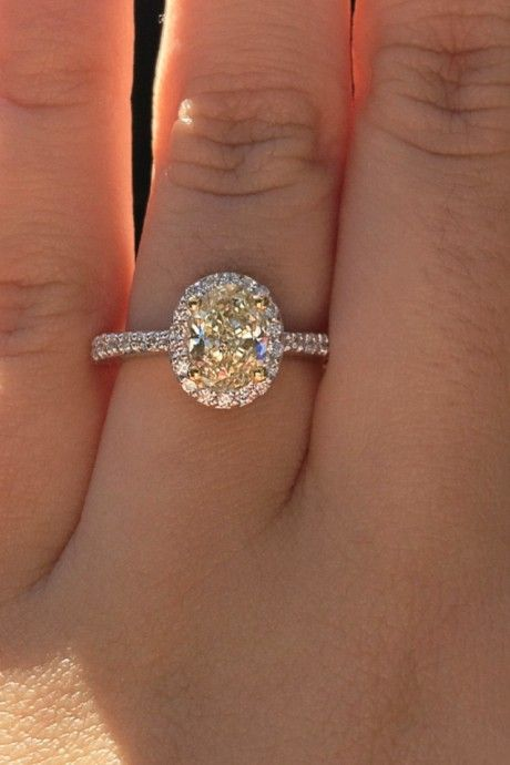 Pale Yellow Diamond 1.5 carat center stone ring