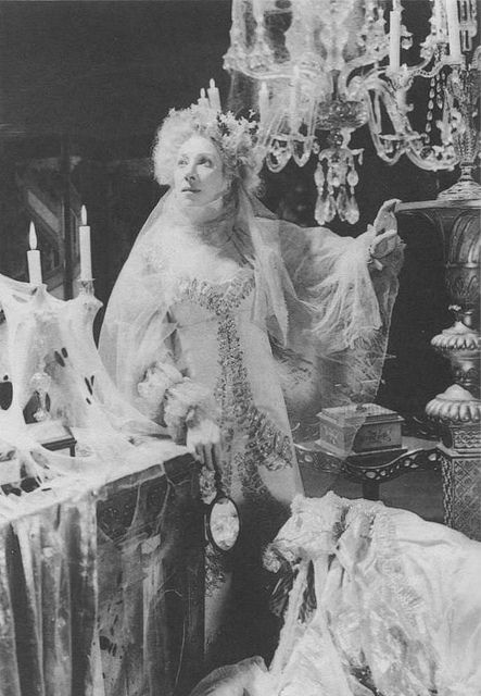 "This is a candid shot of the great actress Martita Hunt as Miss Havisham on the decaying room set of David Lean's 1946 film ""Great Expectations""."
