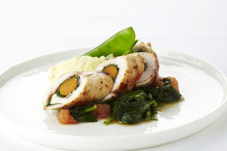 Kiprolletjes met ham, wortel en spinazie