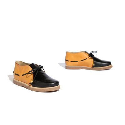 New Kid shoes - Sam Odd - Slip on moccasin shoe with leather lace and gold cube trim.