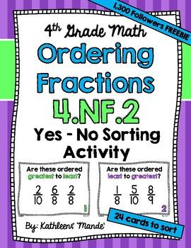 Enjoy these FREE activity cards as a thank you for helping us reach 1,300 followers! YAY! :) Your students will have fun practicing CCSS 4.NF.2: Ordering Fractions. This resource is perfect for partners, groups, or stations. Each of the 24 cards included has 3 fractions.