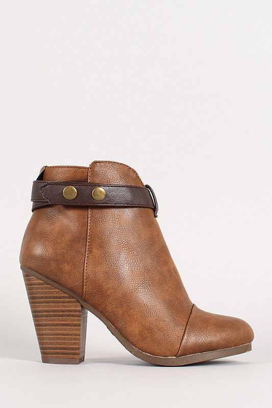 Two-Tone Snap Button Strap Chunky Heel Ankle Bootie. These are serious badgal shoes! Comfy and trendy at the same damn time!