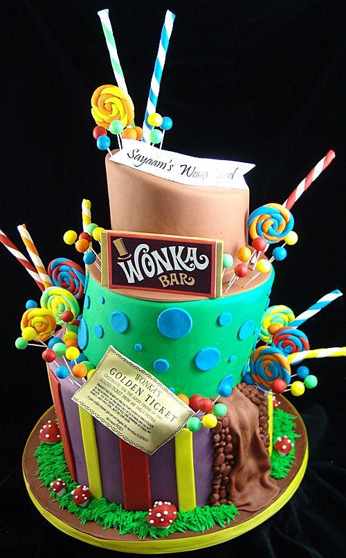Willy Wonka Themed Birthday Cake Topsy Turvy Style #WillyWonkaCake