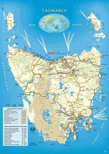 a detailed map of #Tasmania including towns, roads and landmarks in Tassie - #TreasuresTrips #pick