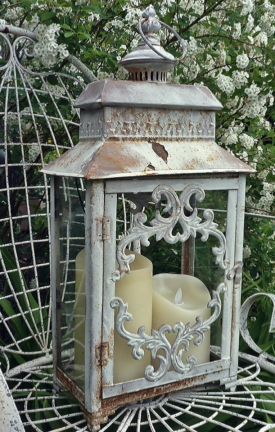 Vintage Lantern With Scroll Detail