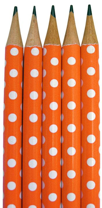 Orange Polka Dot Pencils