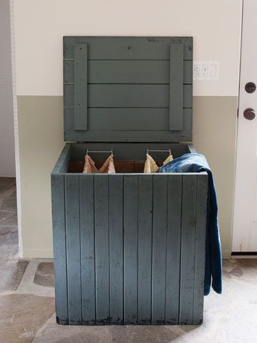 Transform an old box or crate into a hamper by simply hanging his 'n' hers baskets.